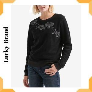 Lucky Brand Fleece Floral-Embellished Sweatshirt